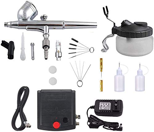 Airbrush Kit with Mini Compressor Airbrush Cleaning Kit- Dual-Action Airbrush Spray Gun, Airbrush Cleaning Pot Tools, Hose with Airbrush Set for Cake, Painting, Hobby, Decorating, Tattoo, Makeup, Nail