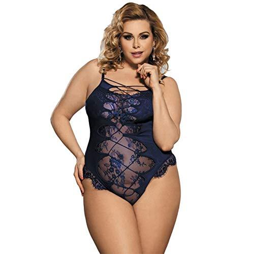 SJHJA Dessous-Sets Für Frauenbodys Für Frauensexy Dessous Lace Porn Pyjamas Transparenter Teddy -Blue_XXXL