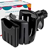 BREEKET 2 in 1 Stroller Cup Holder with Phone Holder Organizer, Universal Cup Holder, Bike Cup Holder with Large Caliber Deasign Fit for New Parents, Cycling Enthusiasts