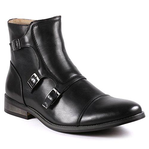 Metrocharm MC133 Men's Cap Toe Triple Monk Strap Formal Dress Casual Ankle Boots