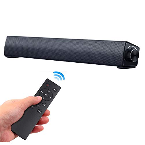 Computer Speaker, EWEMOSI Bluetooth 5.0 Soundbar, Wired Sound Bar Stereo USB Powered Mini Soundbar Speaker for PC Tablets Desktop Cellphone Laptop, RCA, 3.5mm Aux