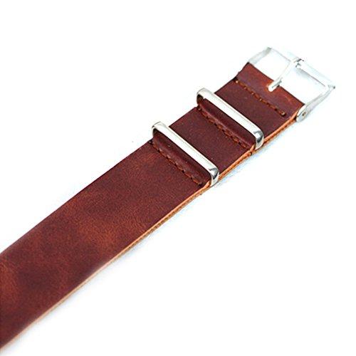 Oumosi Cinturino di ricambio per orologio da polso in vera pelle, per uomo e donna, 182022mm, Dark Brown, 20 mm