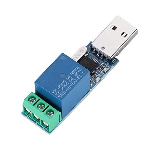 ASHATA Modulo relè CH340 5V con interfaccia Maschio USB Quadrata Plug And Play, modulo relè USB LCUS-1 Modulo di Controllo Interruttore USB Intelligente