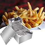 NioEsho 2500W / 5000W Electric Commercial Fryer Double Basket Large Countertop Stainless Steel 1/7 Basket...
