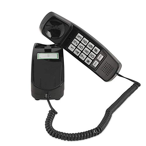 Corded Phone - Phones for Seniors - Phone for Hearing impaired - Black - Retro Novelty Telephone - an Improved Version of The Princess Phones in 1965 - Style Big Button - iSoHo Phones
