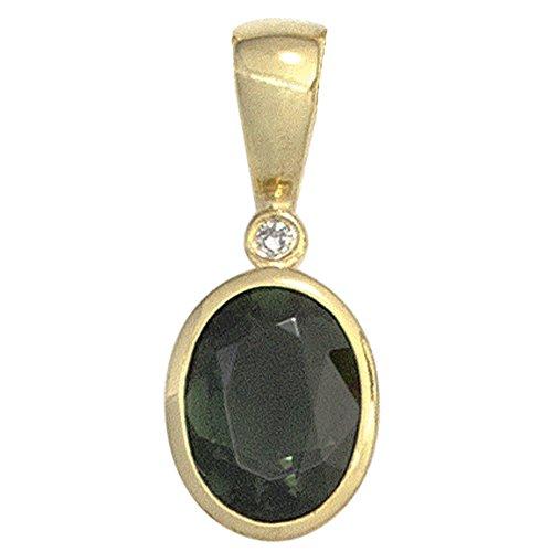 JOBO Damen-Anhänger aus 585 Gold mit Turmalin Oval und Diamant