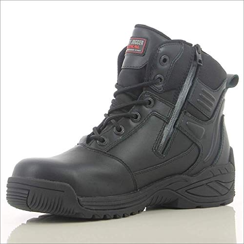 Botas tácticas impermeables negras con cremallera lateral, corte medio, S3 SRC, seguridad Jogger Trooper - 9 UK