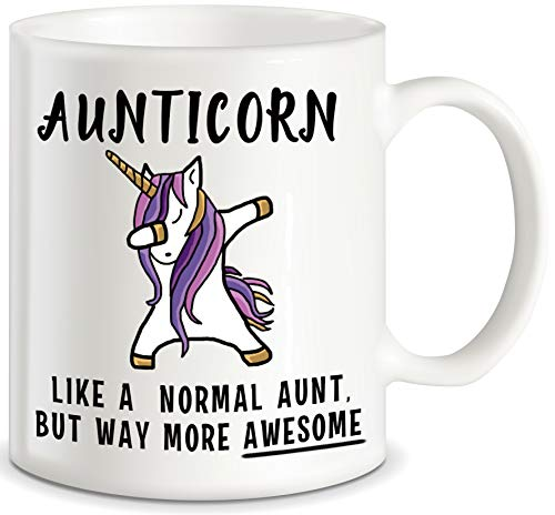 Aunticorn Funny Aunt Coffee Mug Mother's Day Gift for Aunty Best Gift for Aunties Siblings Sisters from Niece Nephew Sister Uncle Mom Dad Novelty Gag Gift for Christmas Birthday Ceramic Mug Tea Cup