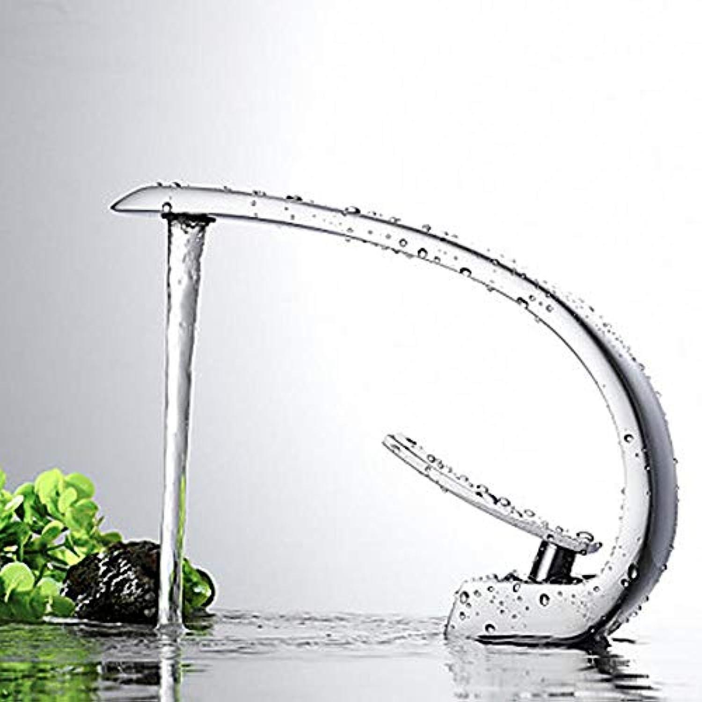 Waschbecken Wasserhahn-Wasserfall Chrombehlter Einloch Einhand-Einloch-Wasserhahn