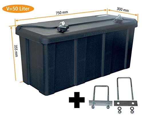 Blackit L - 750 x 300 x 355 mm + Montagesatz MON4002 Edelstahlhaus, Deichselbox mit 2 Schlösser, Werkzeugkasten für Anhänger Staukiste 50 ltr Anhängerbox, Daken B50-2