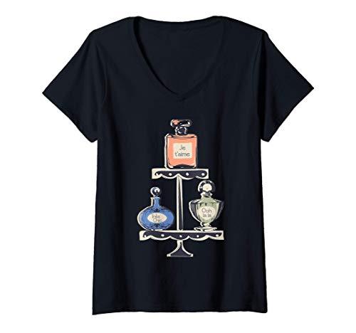 Damen Paris Eau de Parfum-Flasche Souvenir Geburtstag-Geschenk T-Shirt mit V-Ausschnitt