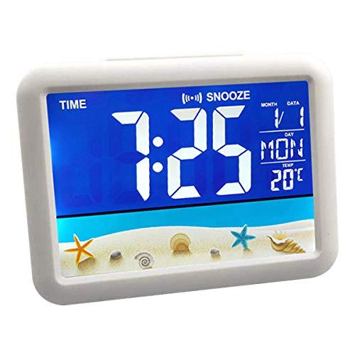 OhhGo Reloj digital con pantalla LCD a color, mesita de noche 12/24 horas de temperatura despertador para la habitación del hogar (parte)