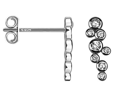 SOFIA MILANI - Damen Ohrringe 925 Silber - mit Zirkonia Steinen - Kreise Ohrstecker - 20617