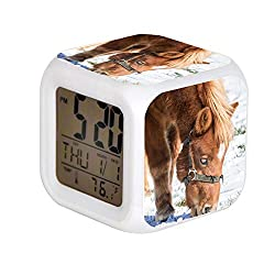 JHSIT 7 Color Change LED Digital Alarm Clock with Date Alarm Thermometer Desktop Table Cube Alarm Clock Child Home Close-up of Horse