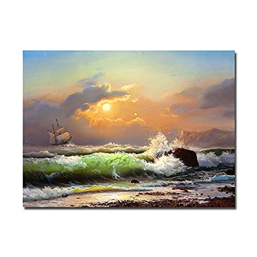 RHWXAX Modernos Estampados de lienzos Marinos navegantes navegando en Las Olas Pinturas de Pared Barcos de Botes para la decoración de la Sala de Estar 24x32 Inch Sin Marco