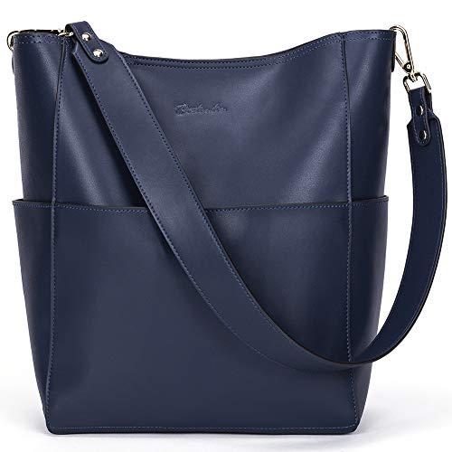 BOSTANTEN Women's Leather Designer Handbags Tote Purses Shoulder Bucket Bag Navy Blue