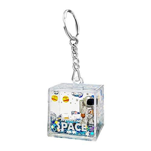Space Astronaut Llavero Llavero, Astronauta Liquid Quicksand Key Anillos, Personalidad Spacemen Llavero Anillo Para Mochila De Oficina, Colgante 3D Bolsa De Mochila Colgando Llavero Colgante Adorno