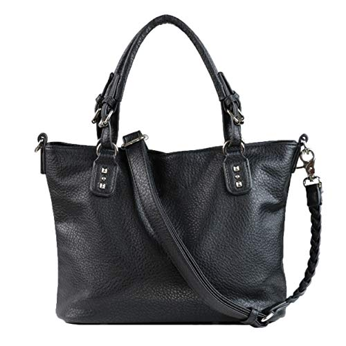Concealed Carry Purse - YKK Locking Ella Braided Concealed Weapon Tote by Lady Conceal (Black)