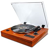Gdeast Vinyl Records 3 Speed Portable Phonograph Record Player Turntable
