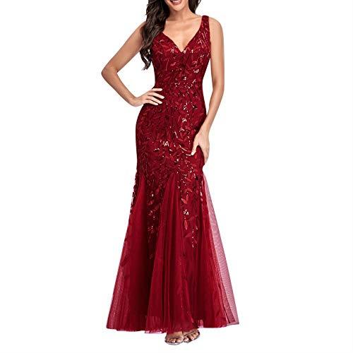 TWIFER Damen Riemchen Bandage V-Ausschnitt Kleid Pailletten Cocktail Abendkleid Evening Kleid