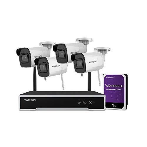 Hikvision - Kit IP NVR WiFi de 4 Canales y 4MP con HDD preinstalado + 4 cámaras Tipo Bala de 4MP con Lente Fija de 2. - NK44W0H-1T(WD)