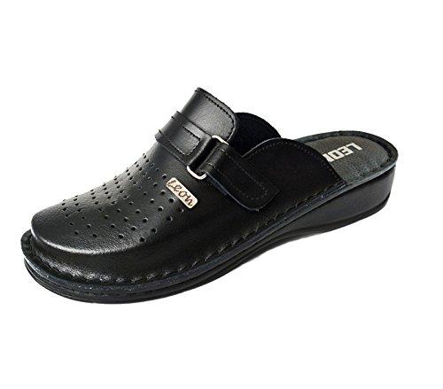 LEON V230 Zuecos Zapatos Zapatillas de Cuero para Hombre, Negro, EU 43