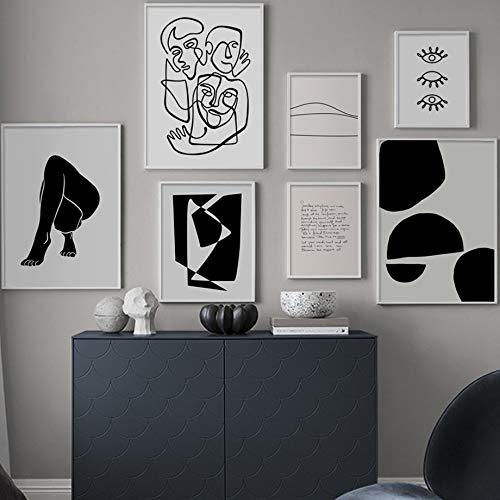 WIOIW Nordic Henri Matisse Arte Corporal Abstracto Minimalista Geometría Línea Citas Lienzo Pintura Arte de la Pared Póster Impresiones Dormitorio Sala de Estar Oficina Estudio Decoración del hogar