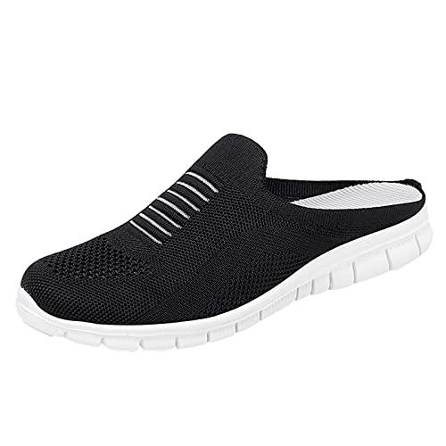 DAIFINEY Damen Hausschuhe Mesh Bequem Pantoffeln Kuschelige Home Indoor Outdoor Slippers Freizeit(1-Schwarz/Black,37) 782