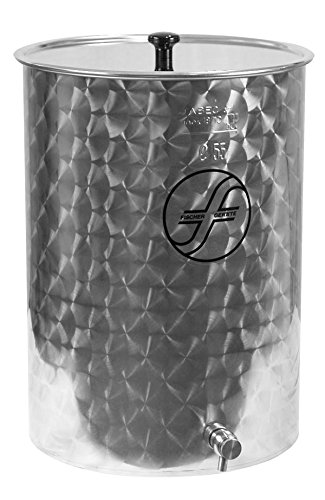 Fischer Kellereitechnik Saft-Fass mit Schwimmdeckel inkl. Edelstahl-Auslaufhahn und Vaseline-Öl, hochwertiger Edelstahl-Tank innen poliert, zum lagern und pasteurisieren von Säften (55 Liter)
