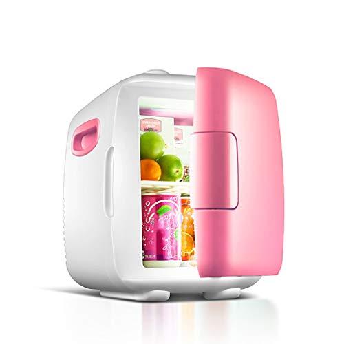 TANKKWEQ Mini refrigerador silencioso, refrigerador, Calentador, cálido y Uso doméstico. (Color : Pink, Size : 4L)