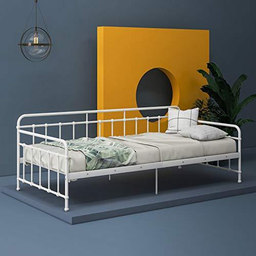 Duless Bett - Bettrahmen Metall mit Lattenrost Daybed Metallrahmen Metall für Gästebett(weiß,90 x 200 cm)