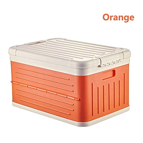 nonbrand Folding Storage Box, clothes and toys storage box, large plastic storage box with lid for Vehicle, Family Vans, SUV, Travel and Camping - Stackable Folding Utility Crates with Lid