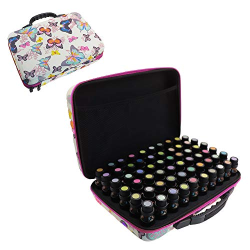 Arxus 12/30/60 Slots Essential Oil Carrying Case Hard Shell Butterfly Pattern for Essential Oil Collection Waterproof Oil Storage Organizer Bag