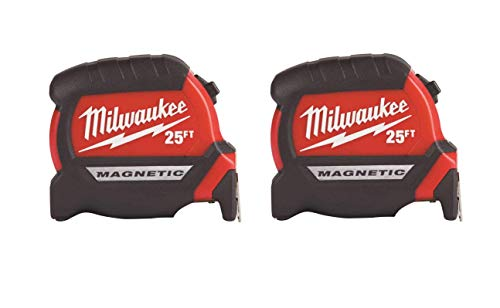 Milwaukee Tool 48-22-7125 Magnetic Tape Measure 25 ft x 1.83 Inch, 2 Pack