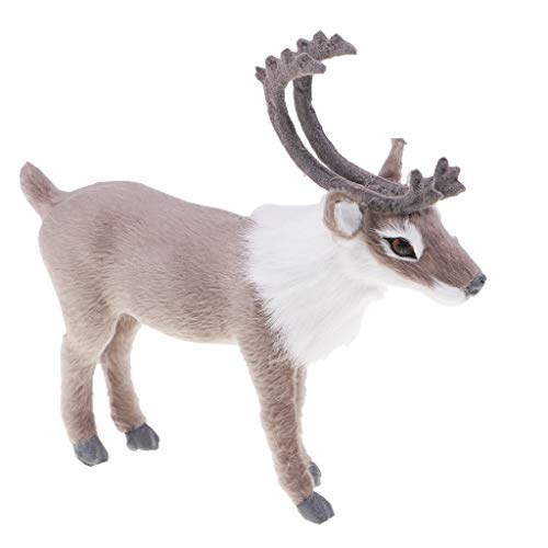 Homyl Kleine Rentier Plüsch Figuren Plüschtiere Kuscheltier Stofftiere Spielzeug Weihnachtsdeko - Grau