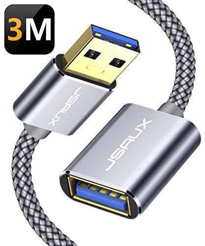 JSAUX USB 3.0 Verlängerung Kabel 3M, USB A Stecker auf A Buchse Nylon Verlängerungskabel 5Gbps Superschnelle mit Vergoldeten Kontakte für Kartenlesegerät,Tastatur, Drucker, Scanner,Kamera usw - Grau