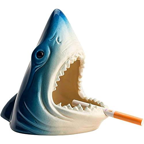 AngYou Tiburón Creativo Europeo Almacenamiento Ascenso de Cenizas Artesanía de la Sala de Estar Oficina de la Oficina Accesorios para la decoración del cenicero del Coche Regalo para el Novio