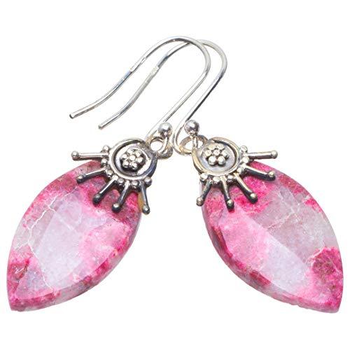 Plata de ley 925 Pink Thulite nico hecho a mano Aretes 4,45cm Pink Thulite B2715