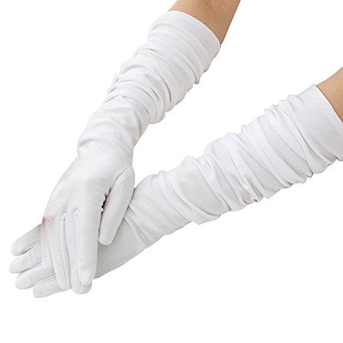 LUOEM Damen lang elastische Handschuhe Elegante Brauthandschuhe Abendhandschuhe Ellbogenlänge 55 CM 1 Paar (Weiß)