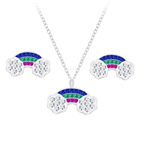Laimons Pendientes infantiles de arco iris de 13 mm y cadena de 36 cm más 5 cm de extensión con colgante de arco de luz de 13 mm con purpurina, azul, lila y menta, plata de ley 925