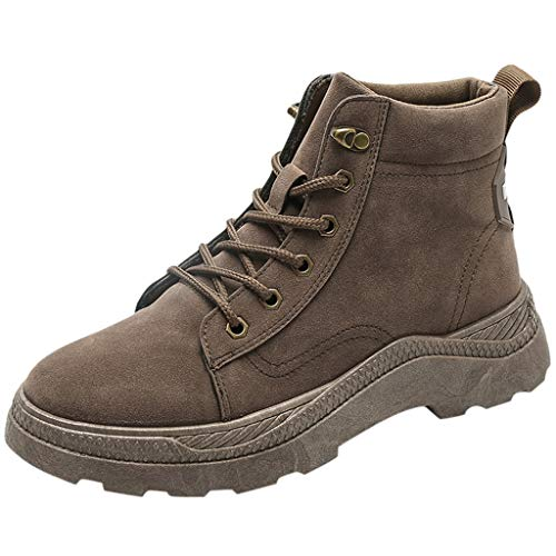 MOTOCO Damen Winter Stiefel Warme Stiefeletten Work Walking Wandern Outdoor Schnürer Thick Bottom Bare Booties(39 EU,Braun)