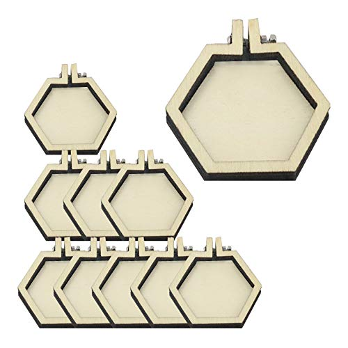 LCHENFA Embroidery Hoop, 10 pcs Mini Hexagon Wooden Embroidery Hoops DIY Cross Stitch Supplies