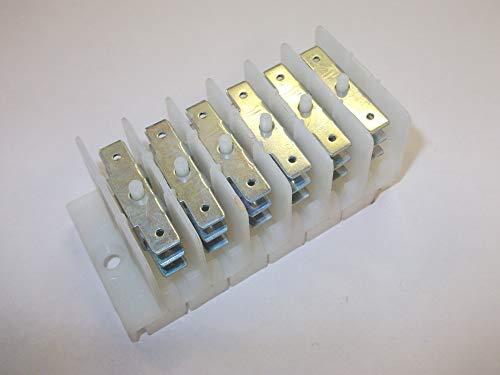 Innovo Faston - Bloque de terminales de 6 polos, 6 polos, distribución...