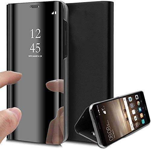 Caler Case Compatible con Xiaomi MI A2 / Mi 6X Funda Cuero PU Espejo Brillante Clear View Modelo Fecha Duro Cover Flip Tapa Libro Soporte Plegable Ventana de Espejo Transparente Carcasa(Negro)