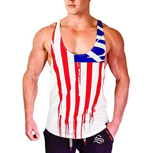 JiXuan Männer Bodybuilding Tank Tops Gym Fitness Workout Baumwolle Ärmellose Weste Lässige Sling Unterhemd White & Red XL