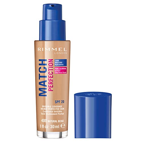 Rimmel - Fond de Teint Match Perfection - Couvrance légère - Hydratation 24h - 400 Natural Beige - 30ml