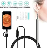 Wcjing 720P HD Pro Ear Endoscope Camera, 3 In 1 USB Ear Scope Earwax Remover Tool for Micro USB, USB-C Android Phone,Windows PC – 2 Meters