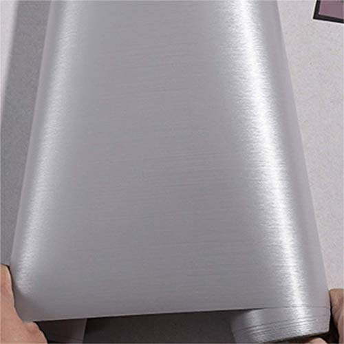 PROHOUS 60 * 500CM 0,3mm Dick Edelstahl Gebürstet Klebefolie Metallic Folie PVC Decorfolie PVC Selbstklebend Metall-Optik Küchenfolie für Kühlschrank Möbel Grau Wasserdicht Möbelfolie