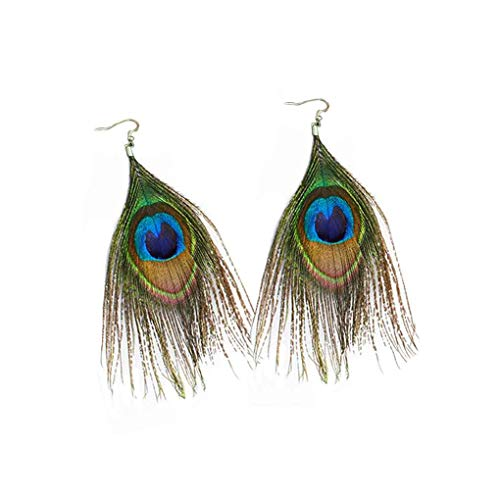 chunyang Frauen-Retro- ethnische Art bunter Pfau Feder-Ohrringe Dekorationen Schmuck
