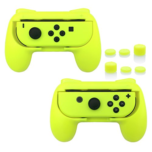 FASTSNAIL Grips Compatible with Nintendo Switch Joy-Con, Wear-Resistant Handle Kit Compatible with Switch Joy Cons Controllers, 2 Pack(Yellow)